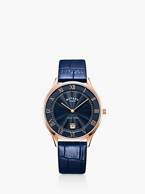 Rotary GS05304/05 Men's PVD Ultra-Slim Leather Strap Watch, Navy