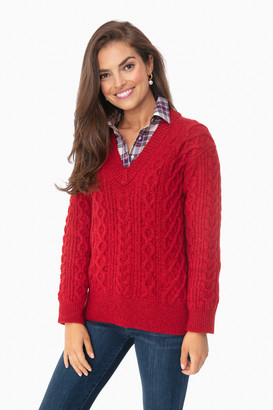 Vince Cherry Cable V-Neck Sweater