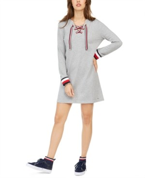 Tommy Hilfiger Lace-Up Hoodie Sweatshirt Dress, Created for Macy's