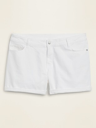 Old Navy High-Waisted Secret-Slim Pockets Plus-Size White Jean Shorts -- 5-inch inseam