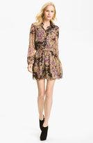 Floral Print Silk Chiffon Shirtdress