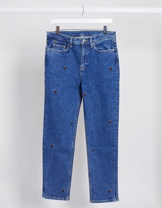 Lacoste embroidered rose mom jeans in blue