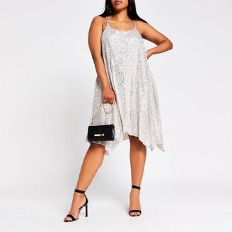 River Island Womens Plus Silver sequin cami dress