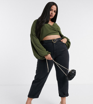 ASOS DESIGN Curve batwing textured top in olive