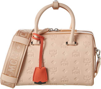 MCM Essential Monogram Leather Boston Bag