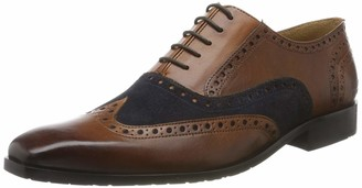 MELVIN & HAMILTON MH HAND MADE SHOES OF CLASS Men's Rico 15 Oxfords Suede Pattini Mid Brown-Rio Lining + Textile-Rich Tan-Insole Leather-M&H Rubber-Navy 7.5 UK