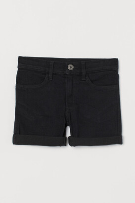 H&M Slim Fit Denim Shorts - Black