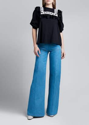 Marc Jacobs Runway) 1/2-Sleeve Ruffled Jersey T-Shirt