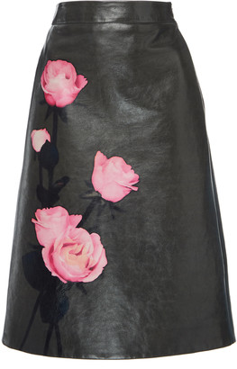 Prada Floral-Print Leather Skirt
