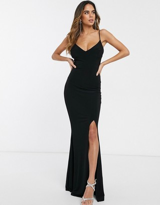 Club L London cami strap maxi dress with thigh split