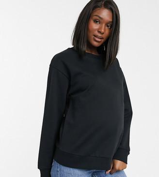 Asos DESIGN Maternity ultimate organic cotton sweatshirt in black