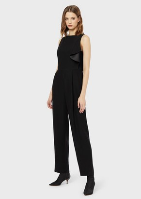 Emporio Armani Jumpsuit In Tech Cady With A Ruffle