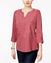 Style&Co. Style & Co. Petite Cotton Embroidered Split-Neck Top, Only at Macy's