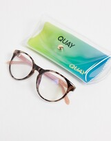 Thumbnail for your product : Quay Out Of Sight womens round blue light glasses in clear