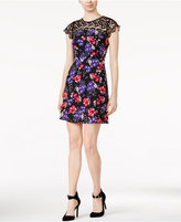 Kensie Floral-Print Lace-Contrast Dress