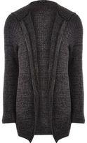 River Island Dark Grey Knit Open Hooded Cardigan