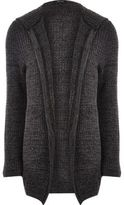 River Island Mens Dark grey knit open hooded longline cardigan