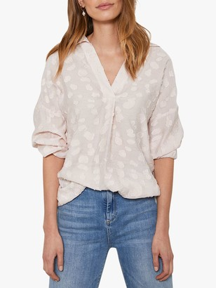 Mint Velvet Jacquard Oversized Shirt, Blush
