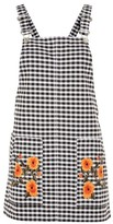Topshop MOTO Gingham Embroidered Pinafore Dress