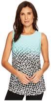 Calvin Klein Sleeveless Print Top w/ Gathered Side Women's Sleeveless