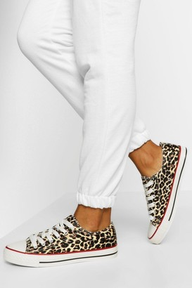 boohoo Leopard Print Lace Up Canvas Trainers