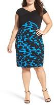 London Times Plus Size Women's Pintuck & Shutter Pleat Sheath Dress
