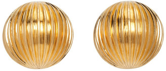 Saint Laurent Gold Round Pleated Earrings