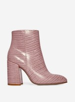 Dorothy Perkins Womens Pink Crocodile Pattern 'Absolute' Ankle Boots, Pink