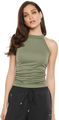 JLO by Jennifer Lopez Women's High Neck Ruched Top