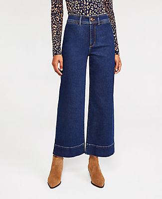 Ann Taylor Onseam Pocket High Waist Wide Leg Jeans in Dark Indigo Wash