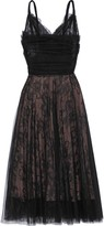 Rochas Layered Pleated Tulle And Chantilly Lace Midi Dress