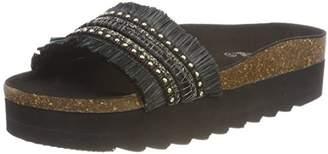 Colours of California Women's Bio One Strap Upper High Sole Open Toe Sandals, Black (Black)