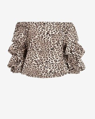 Express Leopard Off The Shoulder Top