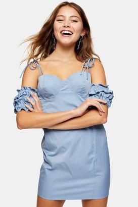 Topshop Womens Blue Ruffle Puff Sleeve Mini Dress - Blue