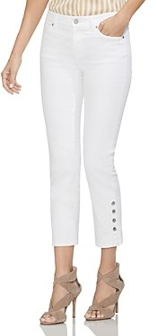 Vince Camuto Snap-Cuff Straight-Leg Jeans in Ultra White