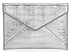 Rebecca Minkoff Women's Leo Croc-Embossed Metallic Leather Envelope Clutch