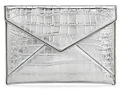 Rebecca Minkoff Women's Leo Metallic Croc-Embossed Leather Envelope Clutch