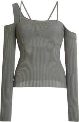Jacquemus Figuerolles Cold-Shoulder Stretch-Knit Top