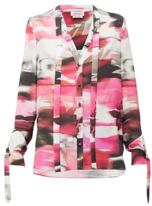 Alexander McQueen Rose-print Silk Pussy-bow Blouse - Womens - Pink Print