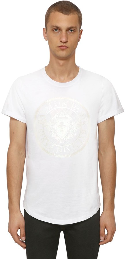 Balmain Laminate Print Cotton Jersey T-Shirt