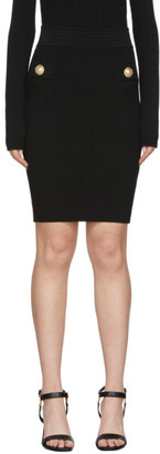 Balmain Black Knit Bodycon Skirt