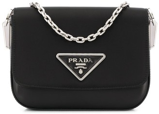 Prada Logo-Plaque Chain-Strap Shoulder Bag