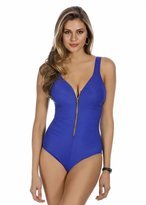 Miraclesuit 6503054 Solid Colour Ziptress Blue Soft Cup Control Swimsuit