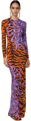 DSQUARED2 Long Printed Stretch Crepe Dress