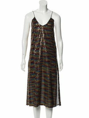 Caroline Constas Sequin Midi Dress w/ Tags Black