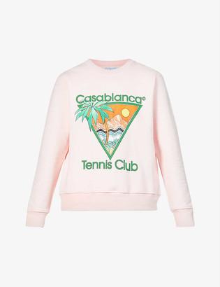 Casablanca Tennis Club graphic-print organic cotton-jersey sweatshirt