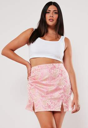 Missguided Plus Size Pink Jacquard Mini Skirt