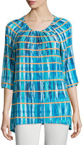 Joan Vass 3/4-Sleeve Tie-Dye Boat-Neck Tunic, Multi