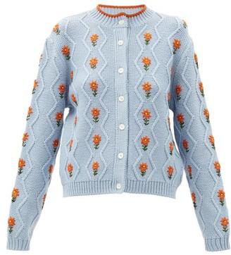 Shrimps Bennett Floral-embroidered Wool-blend Cardigan - Light Blue