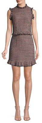 Rebecca Taylor Tweed Ruffle Sheath Dress